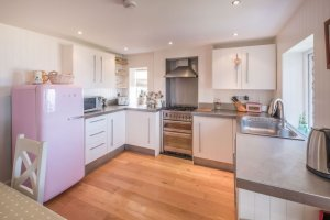 Kitchen with views over solent