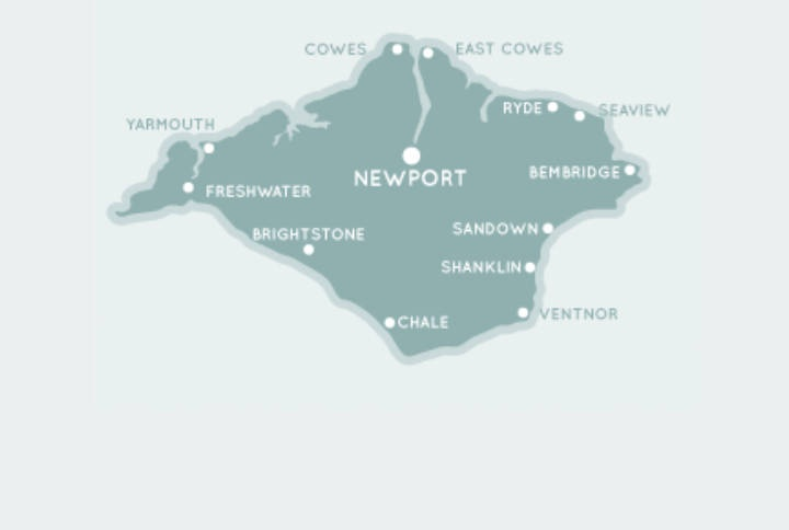 Simple map of the Isle of Wight